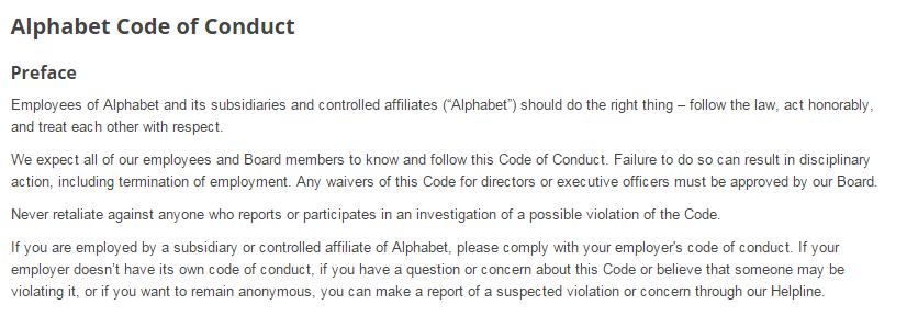 Alphabet Code of Conduct