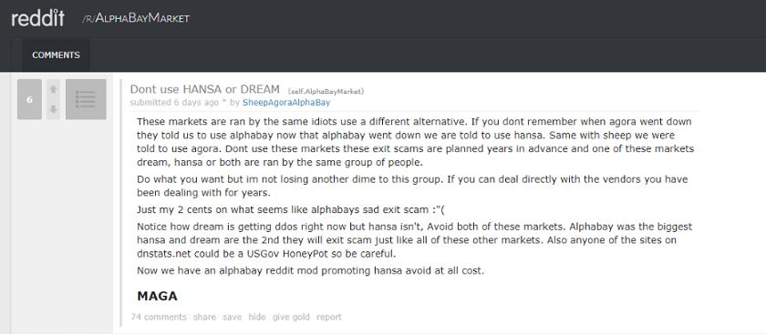 AlphaBay Market paranoid users