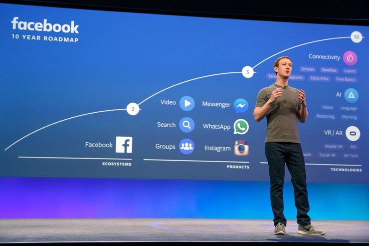 Mark Zuckerberg onstage at F8 2016