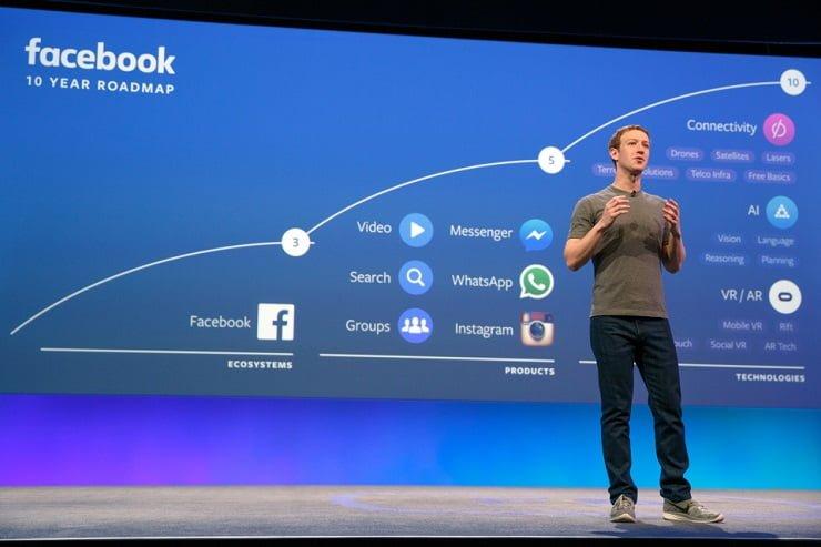 Mark Zuckerberg onstage at F8 2016