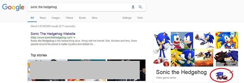 Sonic the Hedgehog Google trick