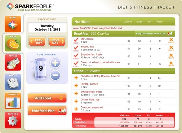 SparkPeople Best Calorie Counting Apps