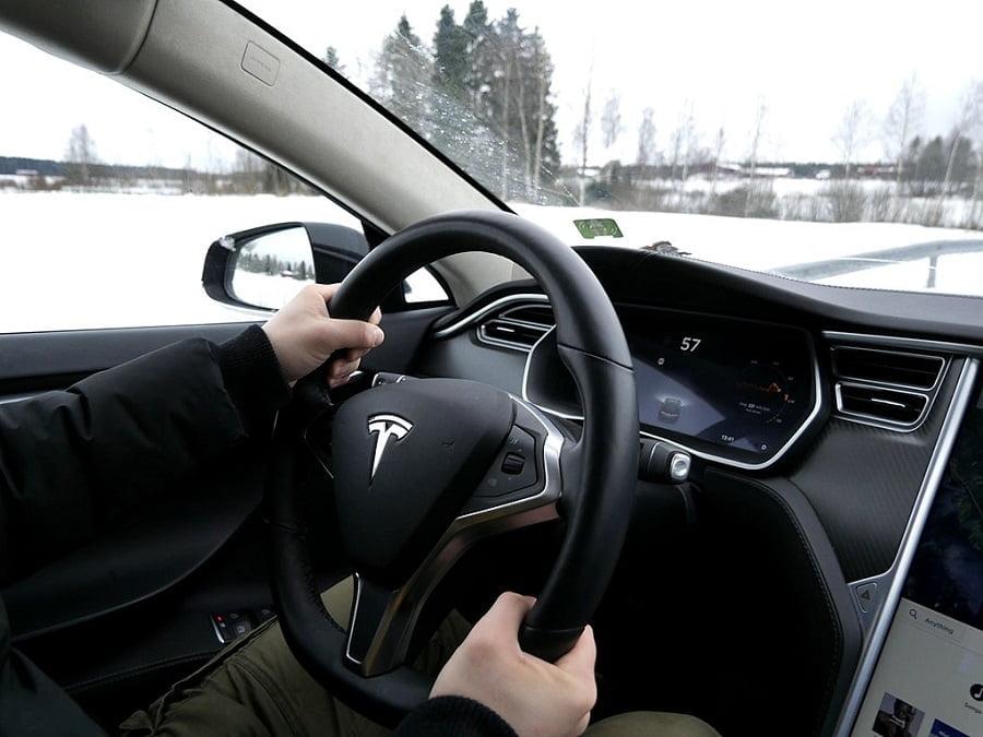 Tesla Steering Car In Wheel