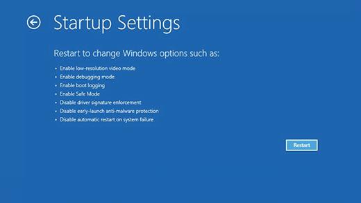 Startup Settings of Windows 10 Safe Mode