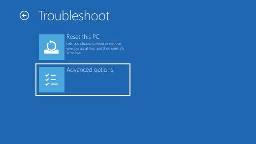 Troubleshoot AdvancedOptions for windows 10 safe mode