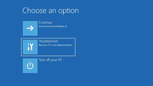 Win 10 Choose an option troubleshoot