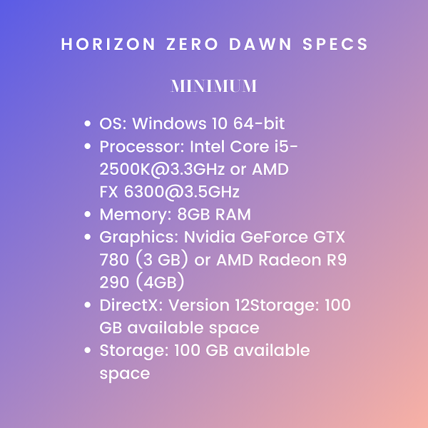 Horizon Zero Dawn minimum system requirements Guerrilla Games PC Edition