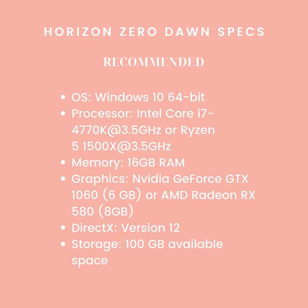 Horizon Zero Dawn system requirements Guerrilla Games PC Edition